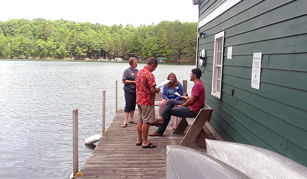 group-at-lake